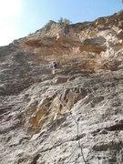 Rock Climbing Photo: Do the Mash Potato, showing the route.