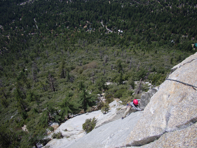 My wife heading up just below the crux.
