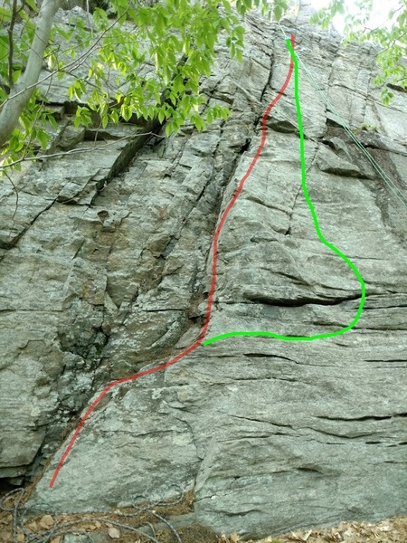 Rock Climbing Photo: red line marks route