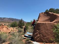 Rock Climbing Photo: Brad midway through the problem.