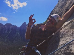 Rock Climbing Photo: Top of pitch 3. The only semi-hanging belay on the...