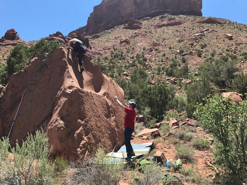 Rock Climbing Photo: Lela topping out.