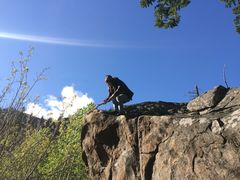 Rock Climbing Photo: Just freshenin' up the top holds with little old M...