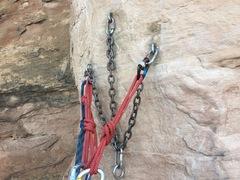 Rock Climbing Photo: 1st anchor.