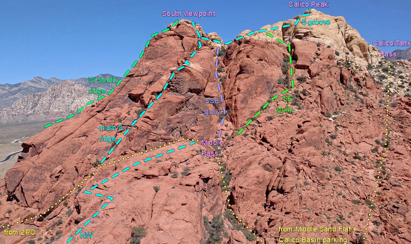 SouthEast side of Calico Peak:<br> * W South Ridge<br> * main South Ridge<br> * S Groove<br> * SSE Gully<br> * SE Gully<br> * NW ridge connect from Red Book Point<br> . (yellow = approach scrambles)