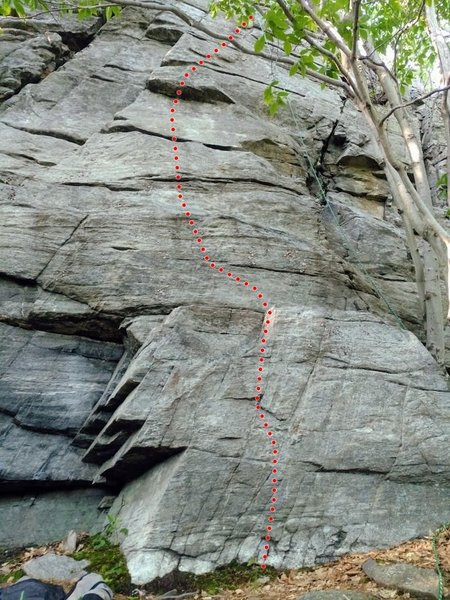 this might be a better picture of Unknown face.  We go straight over the point of the buttress right of Redemption Crack.