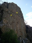 Rock Climbing Photo: Two (old, sketchy) bolts on the face, still visibl...