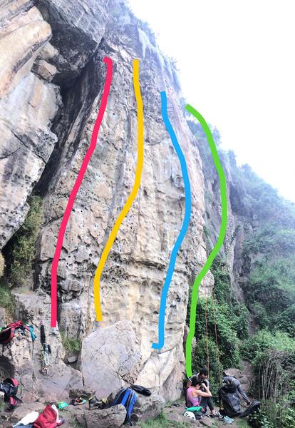 Rock Climbing Photo: Red (Rojo) line on photo.