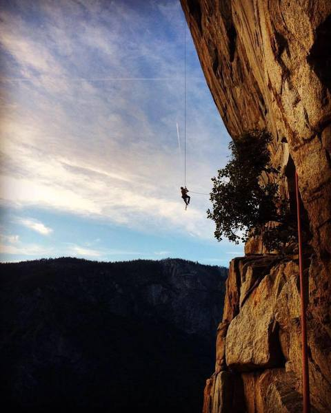 """some girl being described as """"not a gumby anymore"""". She was headed up these fixed lines to ahwahnee ledge. Had fixed lines up the whole route; trying to free it."""