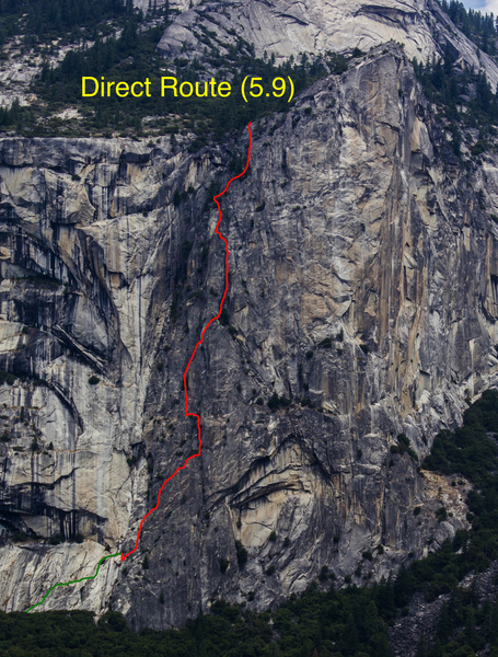 Rock Climbing Photo: Route overlay of Direct Route