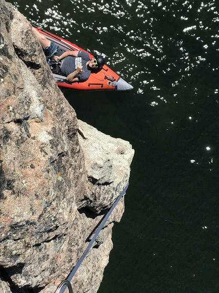 Where else can you belay from a boat?!?