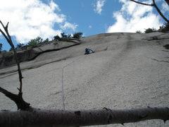 "Rock Climbing Photo: RW on the ""beautiful white slab"" of P2, ..."
