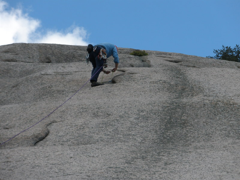 """Rock Climbing Photo: RW placing gear in the flake at top of the """"b..."""