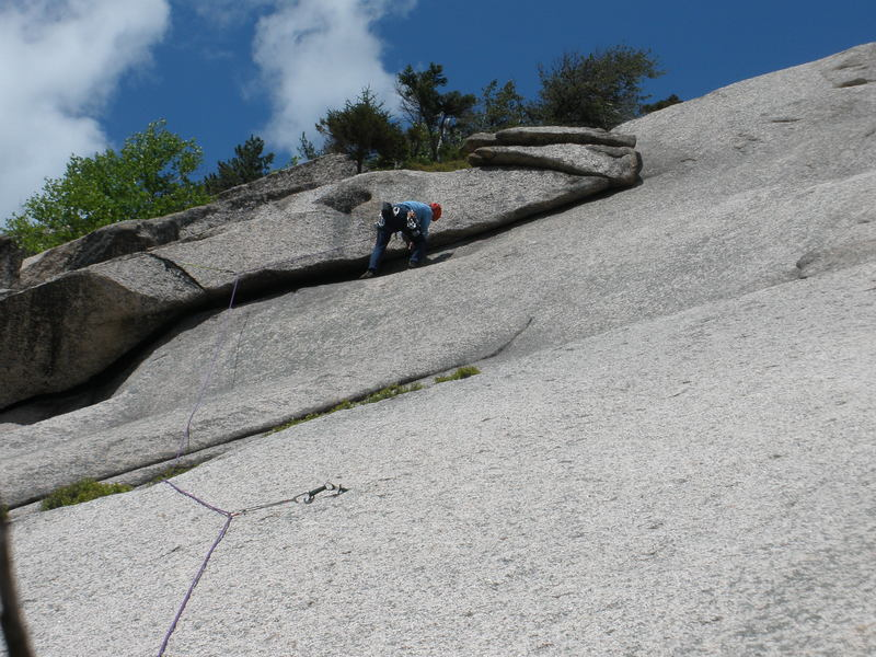Rock Climbing Photo: RW back in the corner after leading the bottom of ...