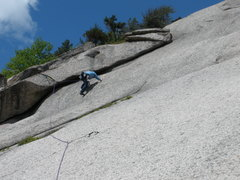 Rock Climbing Photo: RW leading the bottom of the corner on 5.6+/5.7 fr...