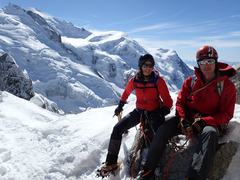 Kicking back, winter ascent of Arête des Cosmiques, Chamonix.