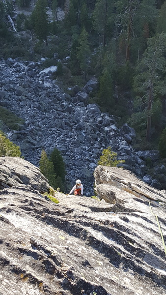Rock Climbing Photo: For Real Crack: Last pitch runout dyke hike