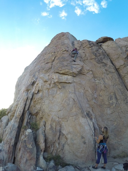 Meg leading, CC on belay. Bye Crackie 5.7