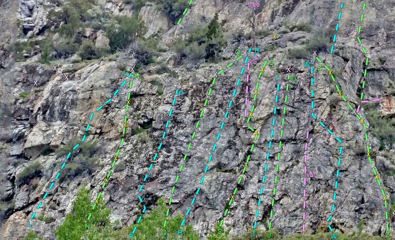Lewis Cntr R<br> L. Shelves - Wander R<br> N. Central - L Ridge<br> P. L Gully<br> Q. L Overlap<br> R. R Overlap<br> S. Obelix<br> T. Blazar<br> U. IceCube<br> W. Far R Face<br> Y. R Squeeze<br> Z. R Edge<br> purple X = 2-bolt anchor