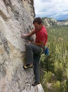 Carl climbing Chalk-A-Lot. <br /> <br />Photo by Cali Terveen.