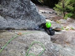 Rock Climbing Photo: Cindy reaching top of Pitch 1.