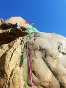 Rock Climbing Photo: 7 bolts, fun traverse, greasy mantles, great climb...