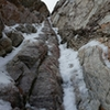 """Looking at up into the crux of maybe """"the ribbon option"""" in Grunge Gulley. Bring lots of rock pro but give it a go if it's in! May have some bad pins here and there in it"""
