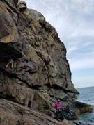 Rock Climbing Photo: Climber following 'Full Sail'