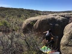 Rock Climbing Photo: Teri near the start of the problem.