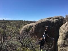 Rock Climbing Photo: Teri reaching the crescent hold.