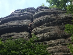 Rock Climbing Photo: Enjoying the exhausting offwidth crux on a nice ho...