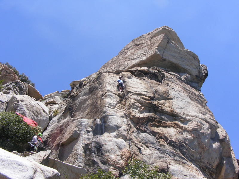 Good rest on the ledge before the crux!