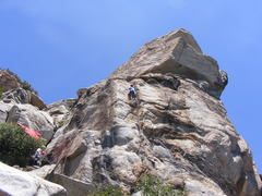 Rock Climbing Photo: Good rest on the ledge before the crux!