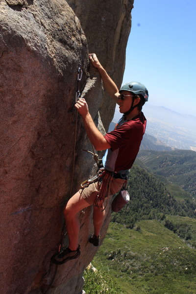 Clipping right after the crux...In between the 1st and 2nd bolt....then 5.9 or less to the top