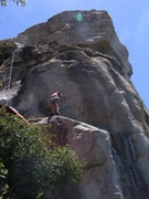 Rock Climbing Photo: About to clip the 3rd bolt from that big ledge!