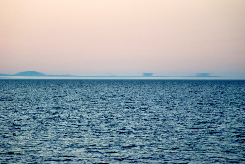 """Fata Morgana"", aka Superior mirage, of Keweenaw peninsula, from the Mouth of the Huron river 30 miles away."