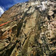 Rock Climbing Photo: Mo-town high up on Feeling Edgy, Ophir, CO.