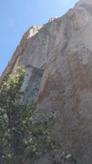 Rock Climbing Photo: A hidden wide crack in a flake gains face holds le...