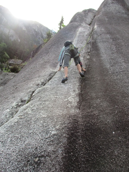 Climber following Memorial Crack.