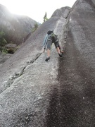 Rock Climbing Photo: Climber following Memorial Crack.