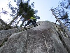 Rock Climbing Photo: Cindy starting up Karen's Math. It's steeper than ...