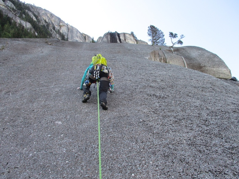 Rock Climbing Photo: Slabby climbing on Pitch 5 of the South Arete rout...