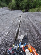 Rock Climbing Photo: Awesome crack on Pitch 3. Looks wide but it had go...