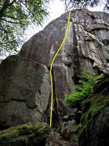 Rock Climbing Photo: Thriller Off the Void Topo