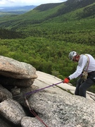Rock Climbing Photo: Starting our 3rd rap with single 70m rope; note th...