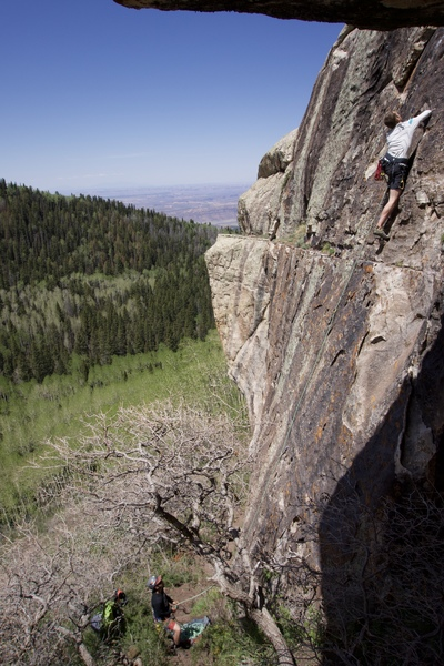 Rock Climbing Photo: Aaron leading up Sweet Cheeba. A fun warmup. Yeyo ...