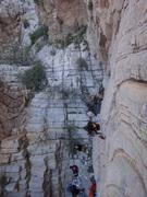 Nia Vendemmia climbing Del Christensen. <br /> <br />Photo by Mauricio Herrera Cuadra.