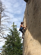 Rock Climbing Photo: Zach on the better pockets halfway up. Clean stone...