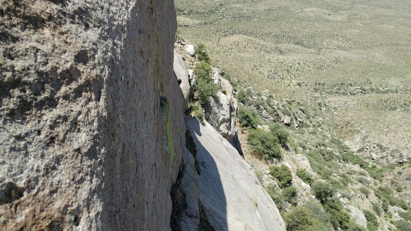 Looking right from pitch one belay at the traversing crack.