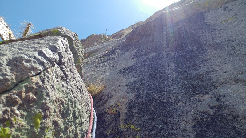 Looking up from Pitch One belay.